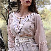 Одежда ручной работы. Ярмарка Мастеров - ручная работа Блузка с кружевом Isa, шелковый ажурный топ, блузка бохо с кружевами. Handmade.