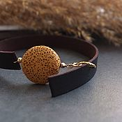 Украшения handmade. Livemaster - original item Soft leather bracelet with sun lava. Handmade.