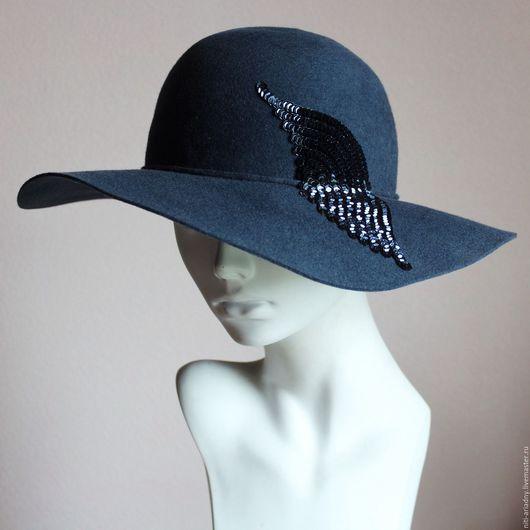 Шляпы ручной работы. Ярмарка Мастеров - ручная работа. Купить Шляпа фетровая. Handmade. Голубой, шляпа с полями, вышивка пайетками