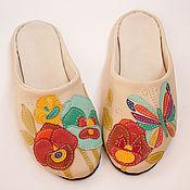 """Обувь ручной работы. Ярмарка Мастеров - ручная работа Домашние тапочки """"Анюткин луг"""" женские кожаные ручной работы. Handmade."""