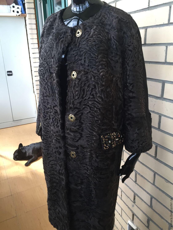Шубка пальто из шоколадной каракульчи и кашемира, Одежда, Москва, Фото №1