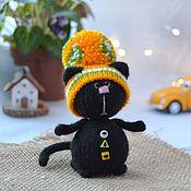 handmade. Livemaster - original item Black cat in a hat. Handmade.