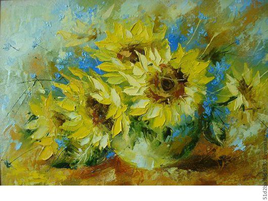 Картины цветов ручной работы. Ярмарка Мастеров - ручная работа. Купить цветы солнца. Handmade. Желтый, картина в подарок
