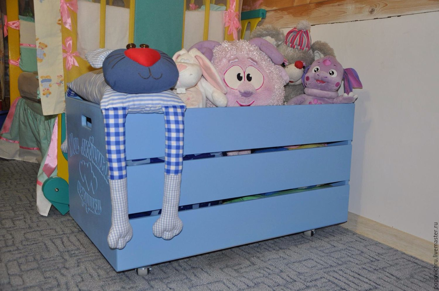 Wooden toy box with engraving, Crates, Cheboksary,  Фото №1