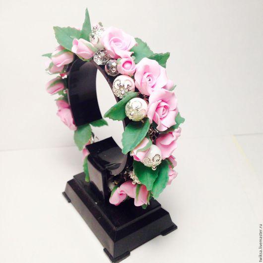 Браслеты ручной работы. Ярмарка Мастеров - ручная работа. Купить Браслет с розово-розовыми розами. Handmade. Розовый, браслет с розами