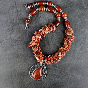 Украшения handmade. Livemaster - original item Necklace with a natural carnelian pendant. Handmade.