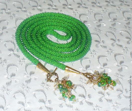 """Лариаты ручной работы. Ярмарка Мастеров - ручная работа. Купить Лариат """"На зелёных лугах"""" с хрусталём. Handmade. Лариат"""