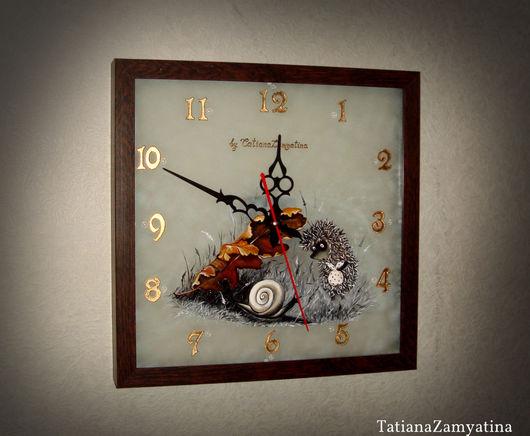 """Часы для дома ручной работы. Ярмарка Мастеров - ручная работа. Купить Часы """"Ёжик в тумане"""". Handmade. Комбинированный, часы стеклянные"""