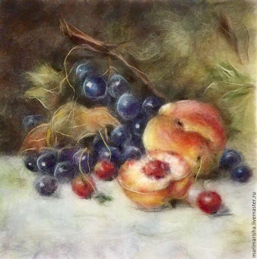 Натюрморт ручной работы. Ярмарка Мастеров - ручная работа. Купить Картина из шерсти Натюрморт с фруктами. Handmade. Картина из шерсти, фрукты