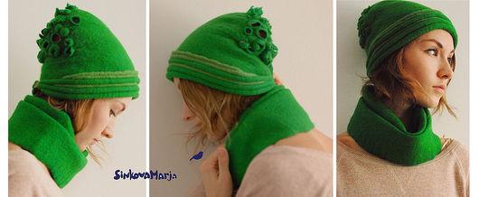 Шапки ручной работы. Ярмарка Мастеров - ручная работа. Купить шапка с цветами.сочный зеленый + фуксия. Handmade. Войлок