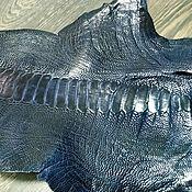 Материалы для творчества handmade. Livemaster - original item Ostrich leather with Shin, haberdashery dressing, dark blue color.. Handmade.