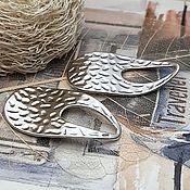 Материалы для творчества handmade. Livemaster - original item Pendant wavy 34h18 mm platinum (3579). Handmade.