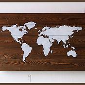 """Картины и панно ручной работы. Ярмарка Мастеров - ручная работа деревянное панно """"Карта мира"""". Handmade."""