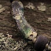 """Украшения ручной работы. Ярмарка Мастеров - ручная работа """"Пробуждение леса"""" колье (серебро 925, стекло, слоновая кость, кожа). Handmade."""