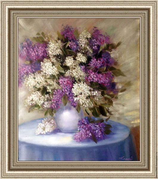 Натюрморт ручной работы. Ярмарка Мастеров - ручная работа. Купить Сирень в вазе. Handmade. Комбинированный, цветы, картина в подарок