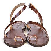 Обувь ручной работы. Ярмарка Мастеров - ручная работа Кожаные сандалии с пальчиком и петлей через щиколотку. Handmade.