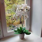 Цветы и флористика ручной работы. Ярмарка Мастеров - ручная работа Орхидея белая с двумя ветками. Handmade.
