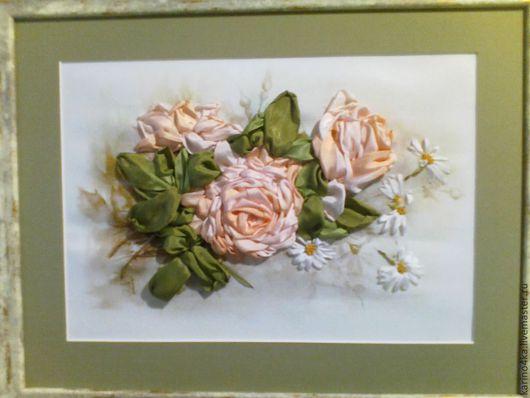 Картины цветов ручной работы. Ярмарка Мастеров - ручная работа. Купить Картина. Handmade. Принт, натуральный шелк вышивка