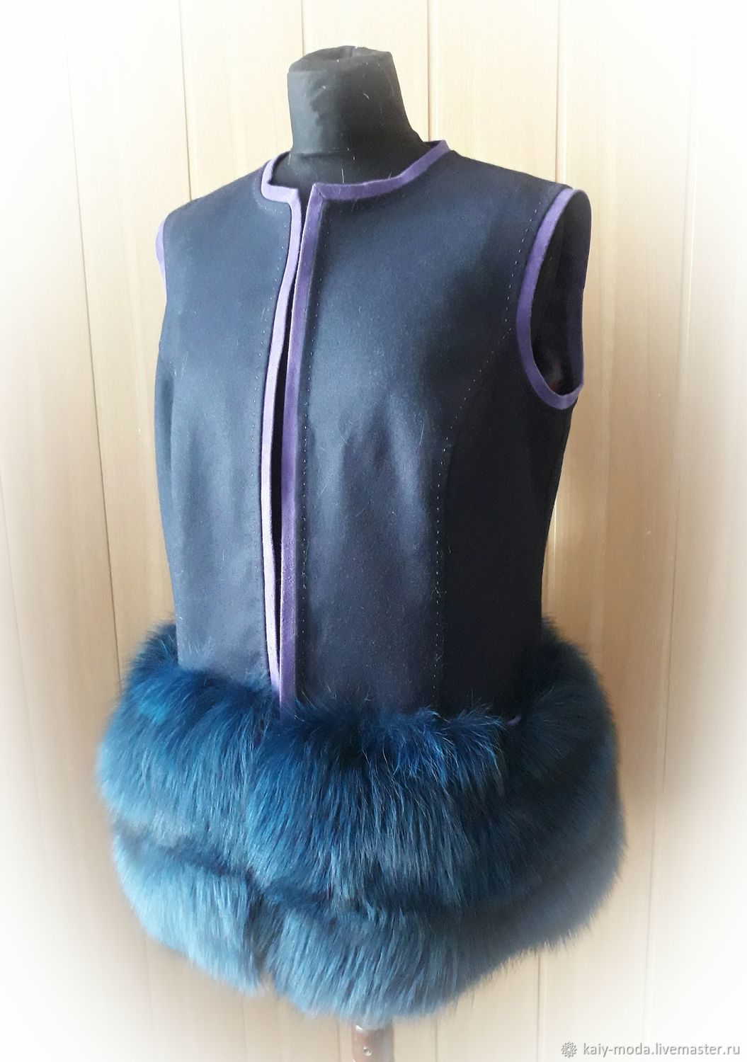 Cashmere vest with Fox fur, Vests, Moscow,  Фото №1