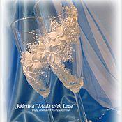 """Свадебный салон ручной работы. Ярмарка Мастеров - ручная работа Свадебные фужеры """"Лебеди"""" (1). Handmade."""