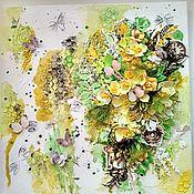Панно ручной работы. Ярмарка Мастеров - ручная работа Панно с цветами. Handmade.