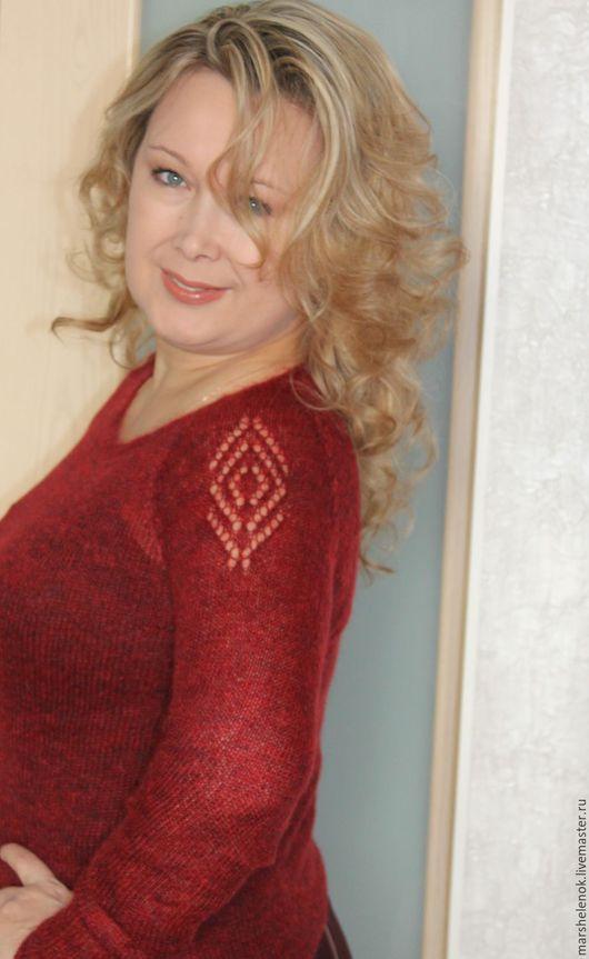 Кофты и свитера ручной работы. Ярмарка Мастеров - ручная работа. Купить Мохеровый джемпер  бордовый меланж 44-46. Handmade.