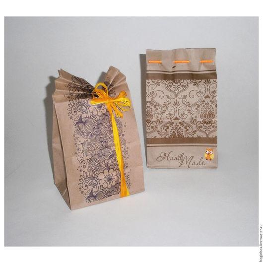 Крафт-пакеты `Арома` и `Hand made` 10х7х19 см