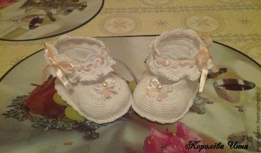Для новорожденных, ручной работы. Ярмарка Мастеров - ручная работа. Купить пинетки туфельки для принцесс крючком. Handmade. Разноцветный