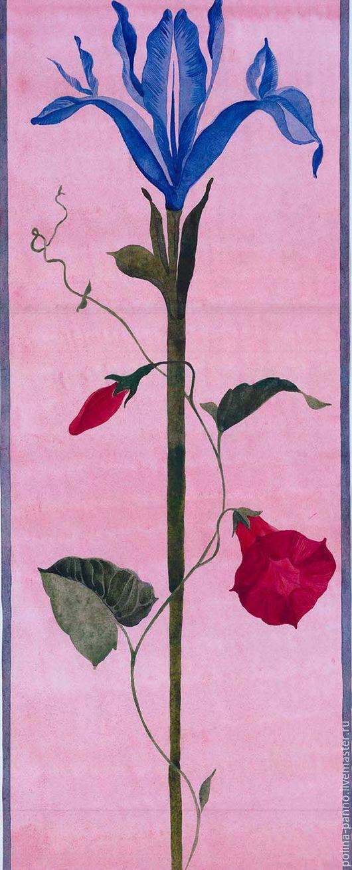 Картины цветов ручной работы. Ярмарка Мастеров - ручная работа. Купить Ирис и вьюн. Handmade. Ирис, цветы, синий, бумага