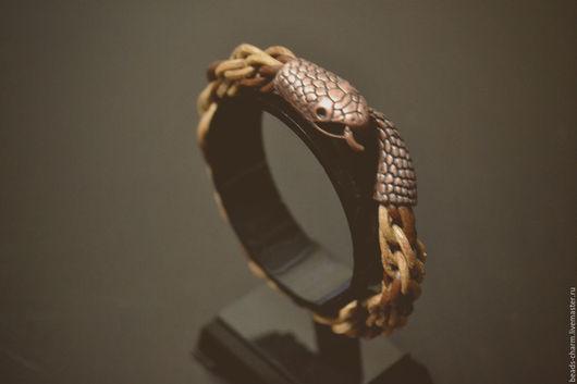 """Браслеты ручной работы. Ярмарка Мастеров - ручная работа. Купить Браслет """"Змейка"""" из кожаных шнуров. Handmade. Коричневый, подарок, оуроборос"""