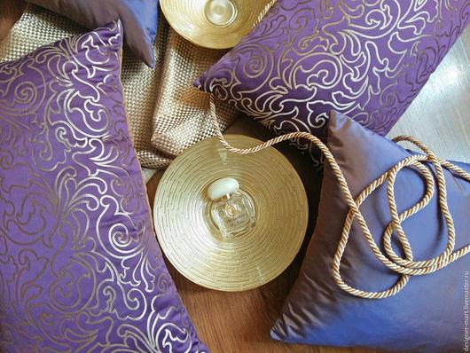 Текстиль, ковры ручной работы. Ярмарка Мастеров - ручная работа. Купить Фиолетовые подушки. Handmade. Тёмно-фиолетовый, вензель, жаккард
