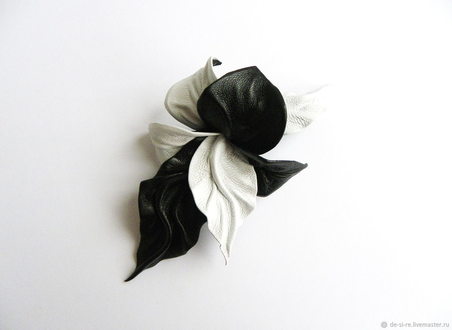 Brooch flower leather Orchid `Domino` black-and-white Original bulk flower Brooch on a bag, belt, hat, coat, fur coat, jacket, dress, sweater, scarf,shawl, scarf, tippet, outerwear Gift