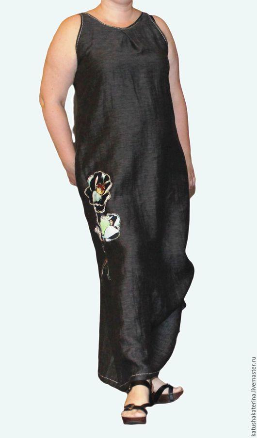 """Платья ручной работы. Ярмарка Мастеров - ручная работа. Купить Платье бохо """"Черный мак"""" льняное. Handmade. Платье, графитовый"""