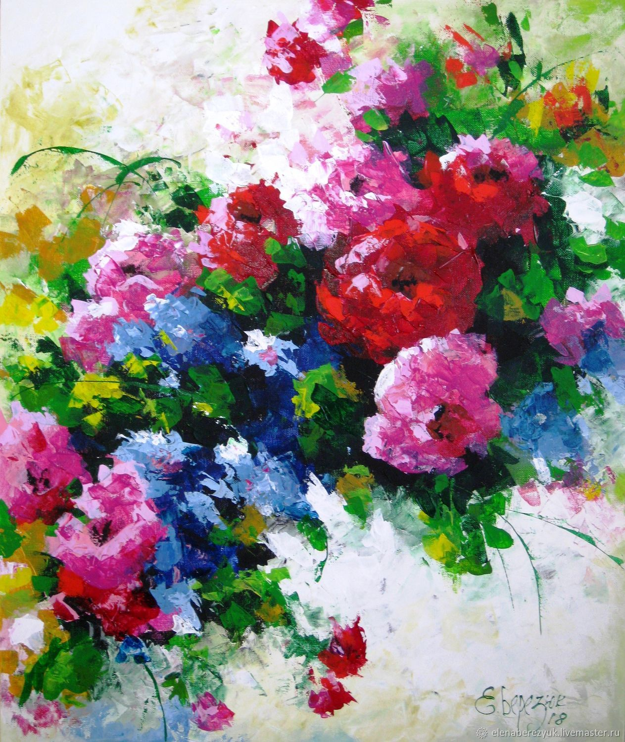 Palette knife painting on canvas flower painting red for Floral acrylic paintings