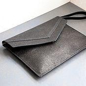Сумки и аксессуары handmade. Livemaster - original item Black leather clutch case for IPad Air, MacBook with cover art. Four hundred fifty seven. Handmade.