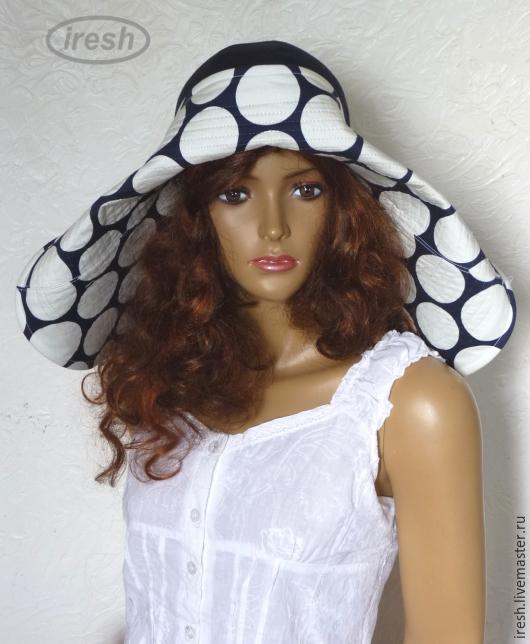 """Шляпы ручной работы. Ярмарка Мастеров - ручная работа. Купить Шляпа """"Николь"""" летняя широкополая синяя.. Handmade. Тёмно-синий"""