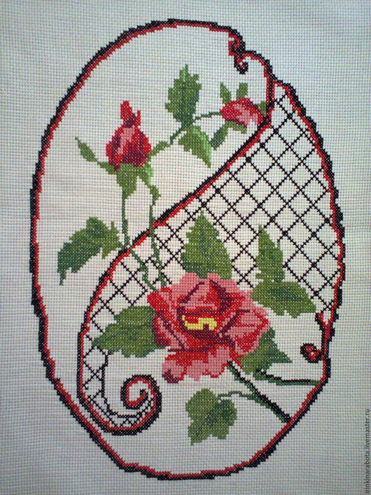 Картины цветов ручной работы. Ярмарка Мастеров - ручная работа. Купить роза. картина вышитая крестиком . без рамки.. Handmade.