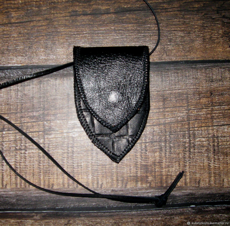 Кожаный футляр на шею для оберега, Кисет, Москва,  Фото №1