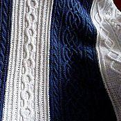 Для дома и интерьера ручной работы. Ярмарка Мастеров - ручная работа Сине-белый плед. Вязание спицами. Handmade.