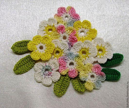 Аппликации, вставки, отделка ручной работы. Ярмарка Мастеров - ручная работа. Купить Цветы вязаные. Handmade. Разноцветный, цветы