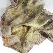 """Аксессуары ручной работы. Ярмарка Мастеров - ручная работа Шарф """"Гармония 2""""  - шелк, экопринт, натуральное крашение. Handmade."""
