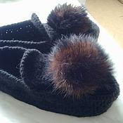 Обувь ручной работы. Ярмарка Мастеров - ручная работа вязаные тапочки-мокасины. Handmade.