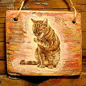 Для дома и интерьера ручной работы. Ярмарка Мастеров - ручная работа «Рыжий Котя» панно деревянное, оберег дома. Handmade.