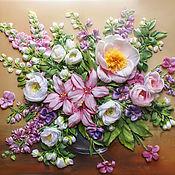 Картины и панно handmade. Livemaster - original item Picture ribbons Bouquet in pink tones. Handmade.