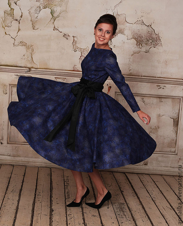 Dress in retro style 'Blue 2', Dresses, Moscow, Фото №1