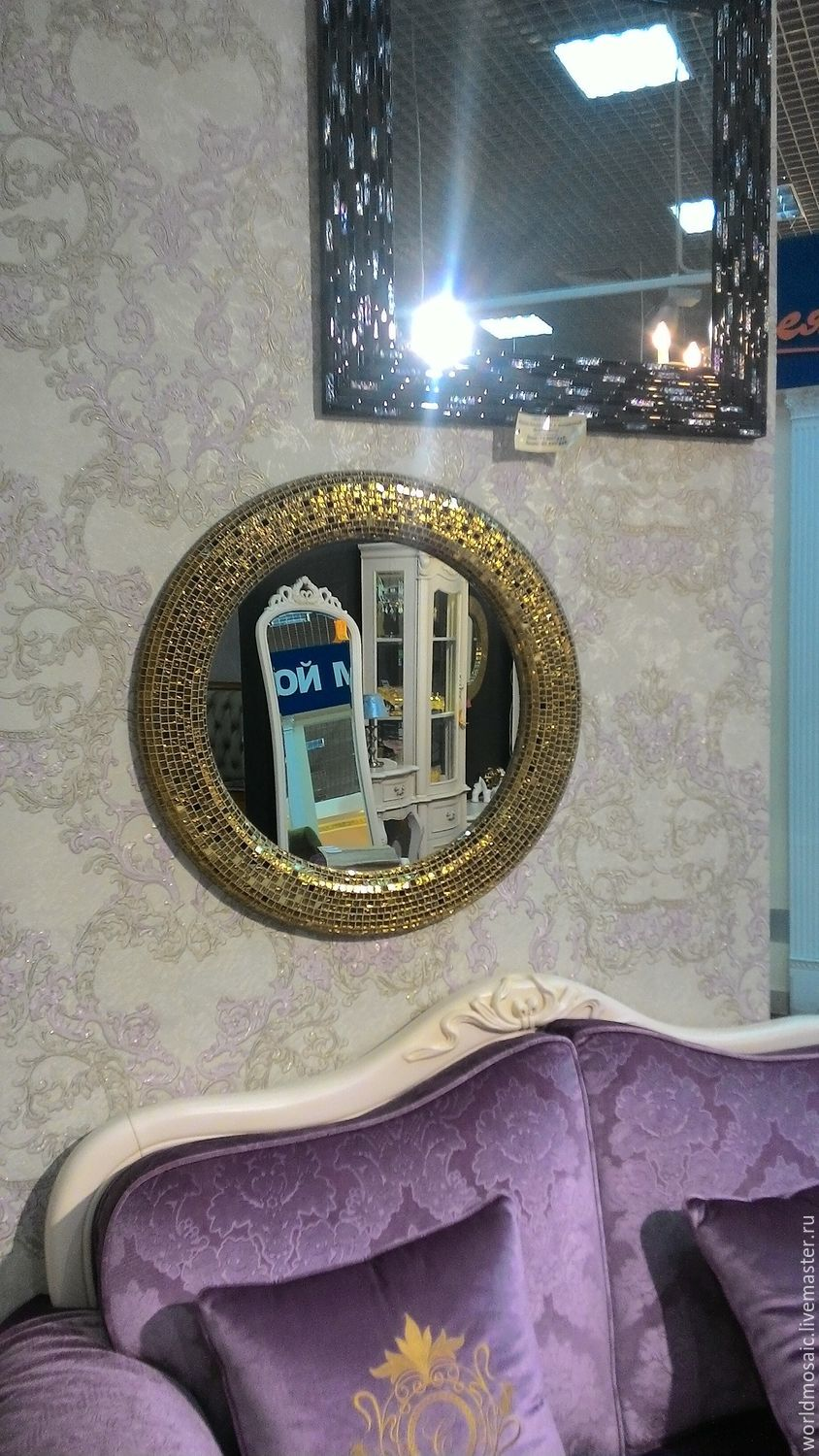 Mirror in mosaic frame, body gold – shop online on Livemaster with ...