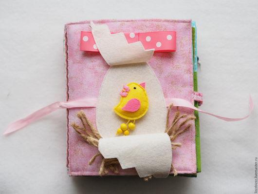 """Развивающие игрушки ручной работы. Ярмарка Мастеров - ручная работа. Купить Развивающая книжка """"Сказка про Цыпленка"""". Handmade. Розовый"""