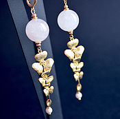handmade. Livemaster - original item Earrings with rose quartz