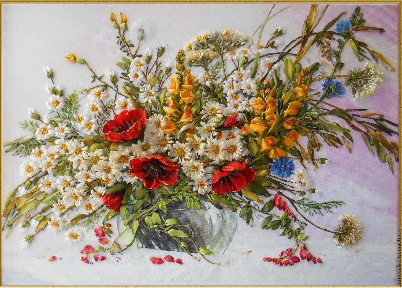 Вышивка лентами. Картина «Полевые цветы». Часть 1 37