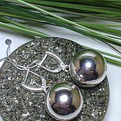 Серьги шарики 18 мм серебро 925